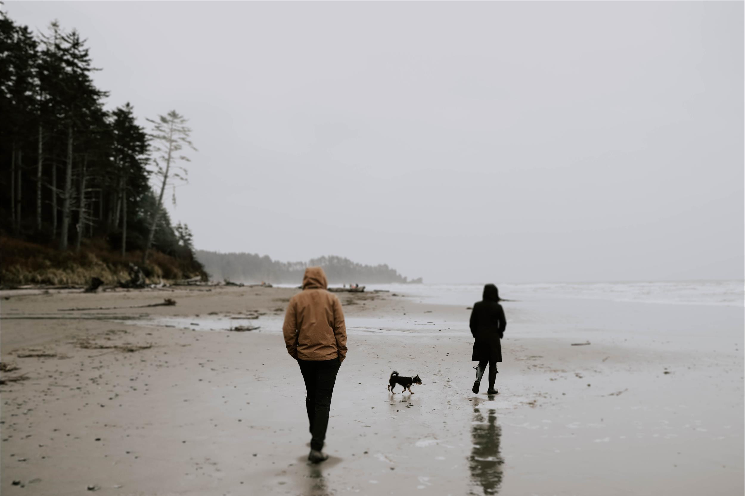 two people walking on the grey foggy beach of Washington as they contemplate life